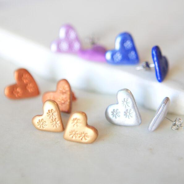 love bug heart studs next romance jewellery metallic clay edit australia