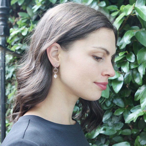 13mm-hammered pearl hoop earrings-NEXT-ROMANCE unique-jewellery-australia