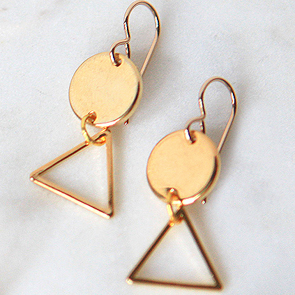coin and triangle stack dangle earring next romance jewellery australia