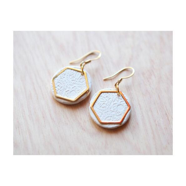 porcelain handmade earrings gold hexagon next romance