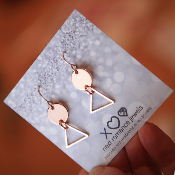 rose gold geo minimal coin and triangle earrings nexy romance jewellery made in australia gifts for mum girlfriends