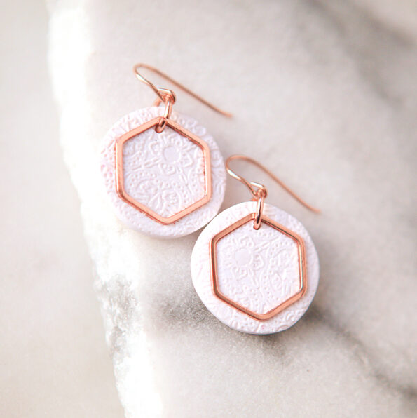 rose gold hex porcelain earrings next romance jewellery australian made by vicki leigh