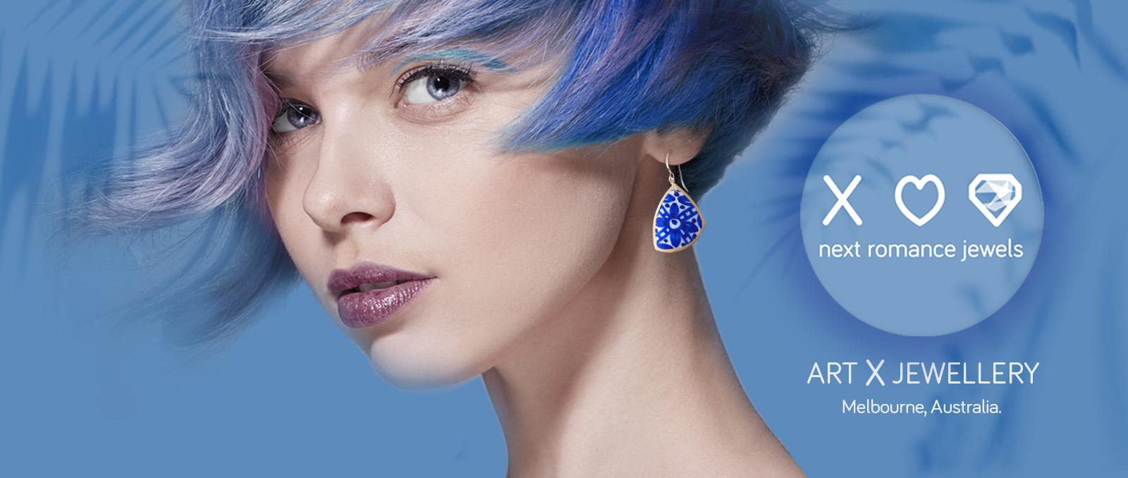 Blue ceramic organic shape art earrings WEB header NEXT ROMANCE banner 1600×678 copy