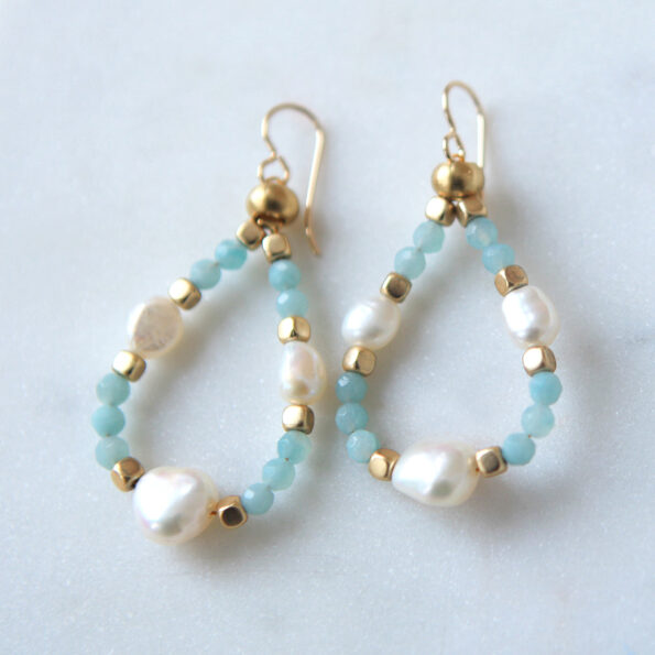 aqua gemstone crystal blue earrings hoops shimmery loopy next romance jewellery melbourne