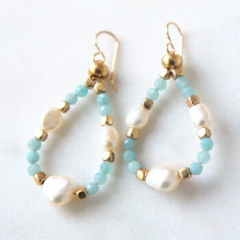 BLUE gemstone pearl hoop earrings shimmery loopy next romance jewellery melbourne