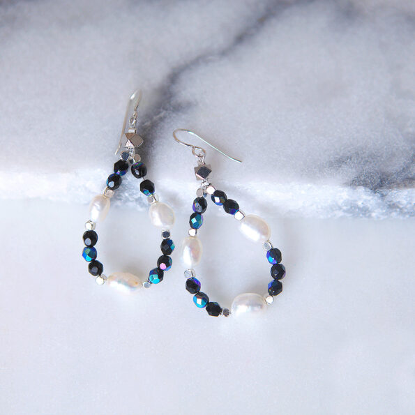 pearl hoop earrings BLUE gemstone earrings shimmery loopy next romance jewellery melbourne