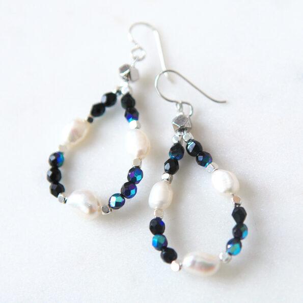 pearl earrings BLUE gemstone pearl hoop earrings shimmery loopy next romance jewellery melbourne