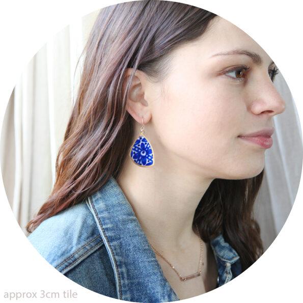 sapphire blue ceramic organic GOLD julia-blue-art-NEXT-ROMANCE-earring-designs-melbourne