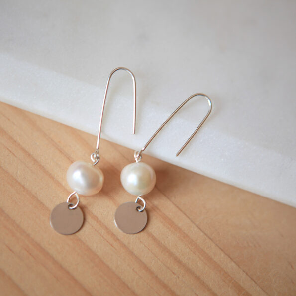 pearly coin dangley earrings made in australia sterling silver by next romance jewellery melbourne unique modern wedding gift