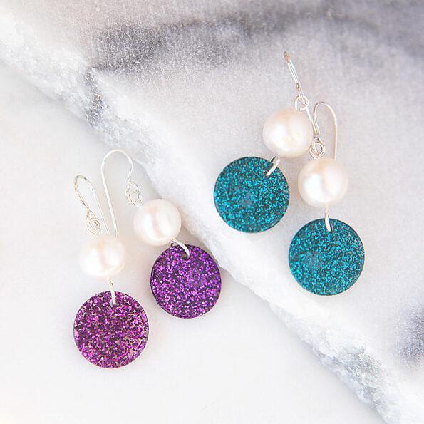 pearl glitter drops sterling silver hooks earrings next romance modern design jewellery