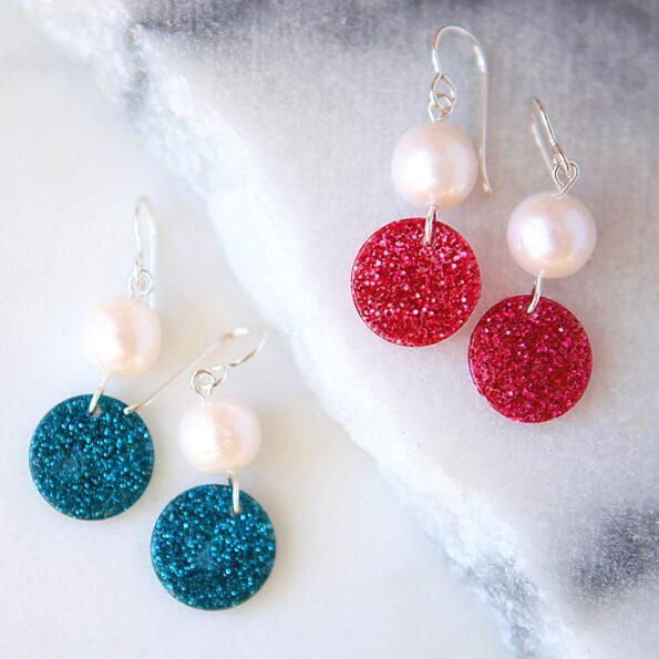 pink blue pearl glitter drops sterling silver hooks earrings next romance modern design jewellery made in australia
