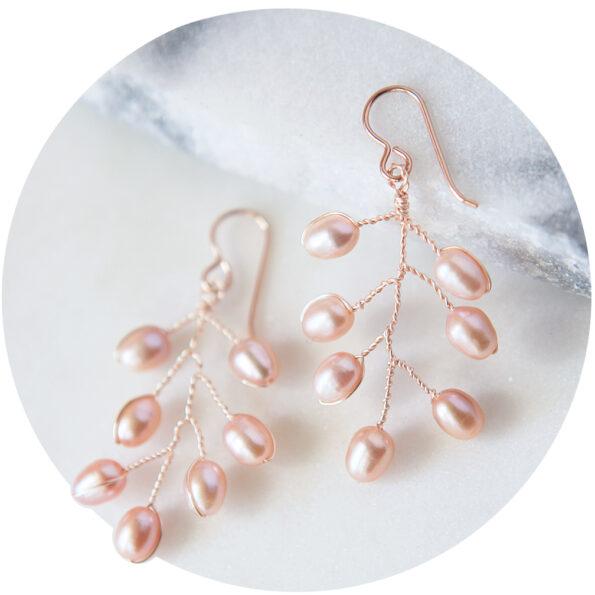 rose gold pearl earrings pink tree wedding bridal pretty handmade unique life formal