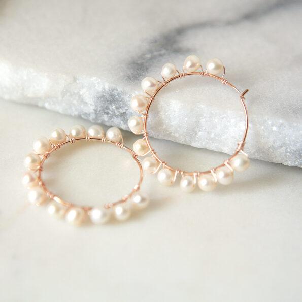 rose gold pearl hoop earrings wedding bridesmaid white pink jewellery australian made melbourne