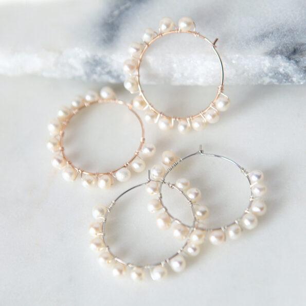 silver pearl hoop earrings wedding bridesmaid white jewellery australian made melbourne