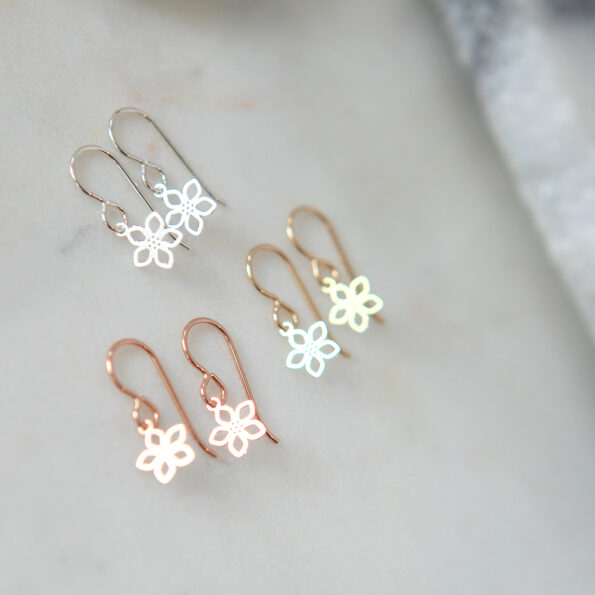 tiny filigree flower on hooks new next romance jewellery australia