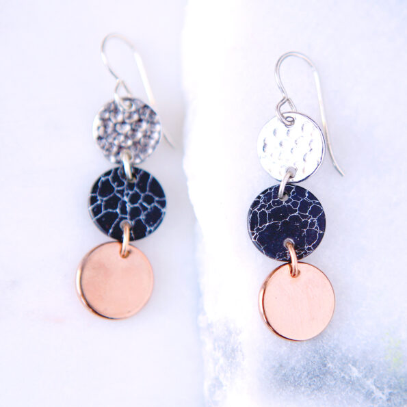 3 tone silver marble rose gold coin earrings gift triple 3 new next romance jewellery australian made