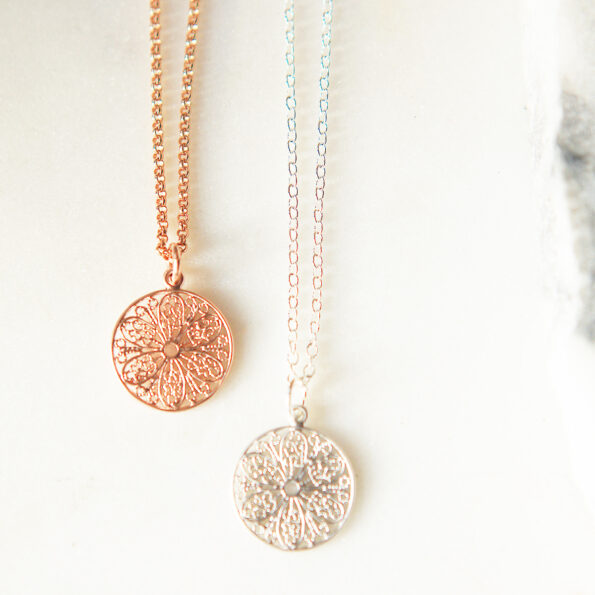 mum gift rose gold Filigree simple geometric necklace - sterling silver chain new unique jewellery by next romance aUSTRALIA