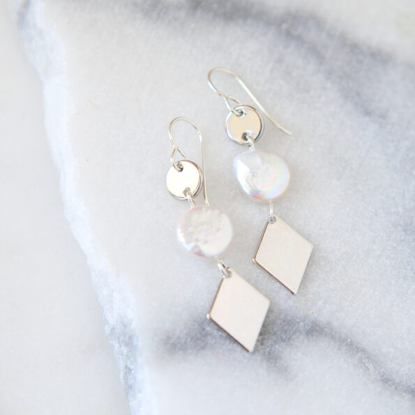 coin pearl silver triple diamond earrings next romance jewellery