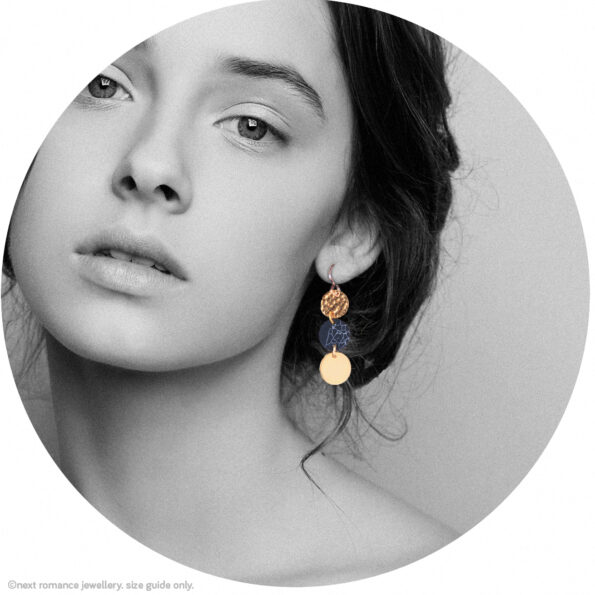 marble rose gold coin earrings gift triple 3 new next romance jewellery australian made