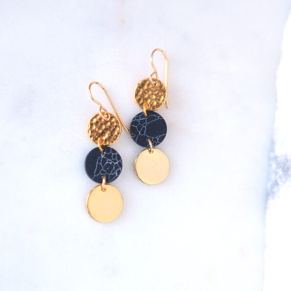 gold marble coin earrings gift triple 3 new next romance jewellery australian made