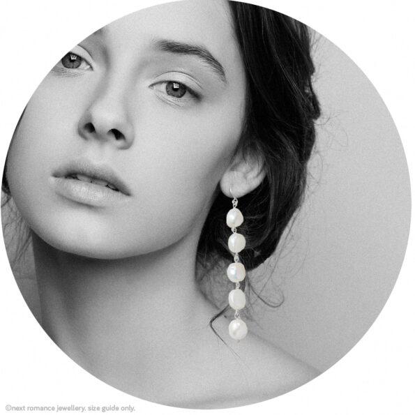 silver statement pearl earrings long white drop earrings multiple wedding earrings made in australia next romance jewellery unique gorgeous