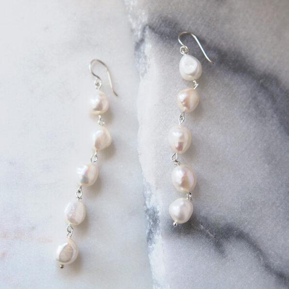 statement pearl earrings long white drop earrings multiple wedding earrings made in australia next romance jewellery
