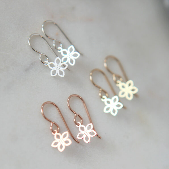 pretty tiny flower earrings silver gold rose gold filigree petite cute jewellery made in australia minimal unique real silver steel